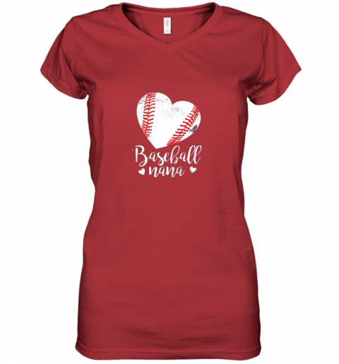 pekn funny baseball nana shirt gift for men women women v neck t shirt 39 front red