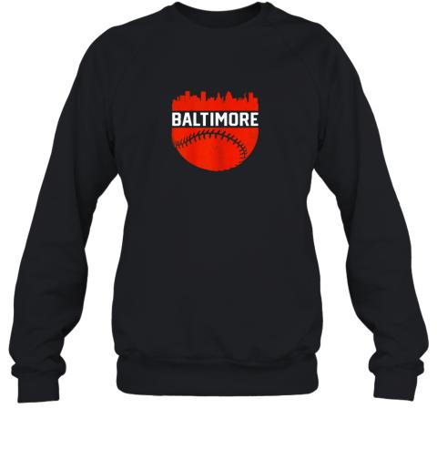 Vintage Downtown Baltimore Maryland Skyline Baseball Sweatshirt