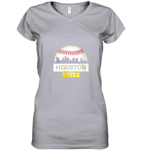 iv9q houston baseball shirt 2019 astro skyline on giant ball women v neck t shirt 39 front sport grey