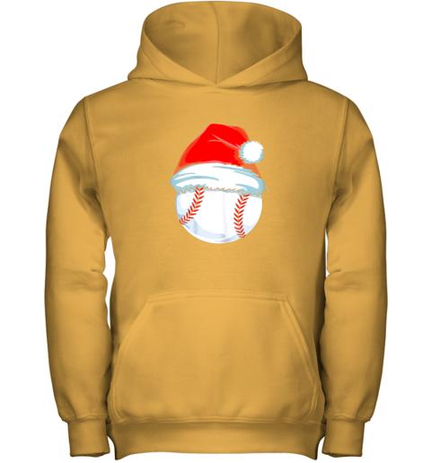 e3vp christmas baseball shirt for kids men ball santa pajama youth hoodie 43 front gold