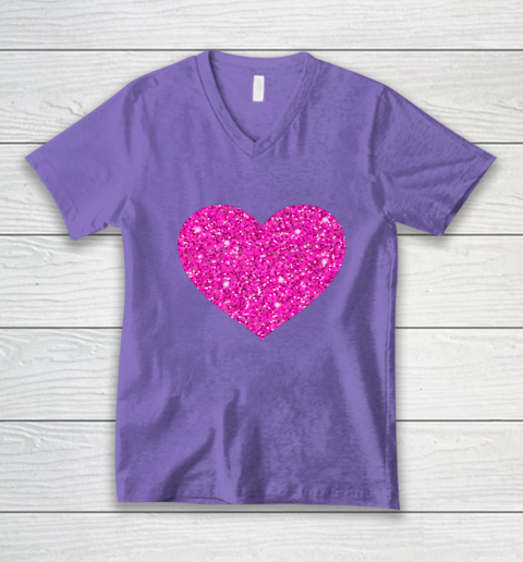 Pink Valentine Heart Love Fun Husband Wife V-Neck T-Shirt 8