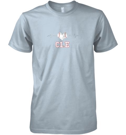 icno cleveland baseball shirt cleveland ohio heart beat cle premium guys tee 5 front light blue