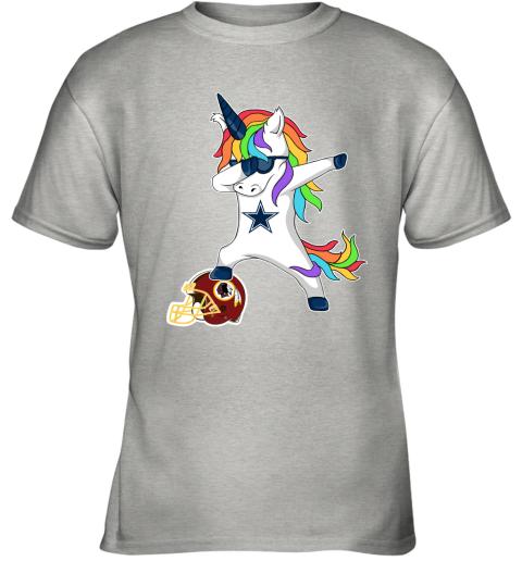 Football Dabbing Unicorn Steps On Helmet Dallas Cowboys Youth T-Shirt