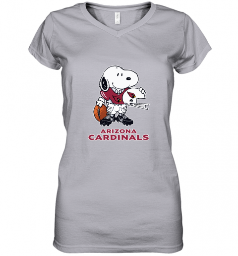 Snoopy A Strong And Proud Arizona Cardinals Player NFL Women's V-Neck T-Shirt