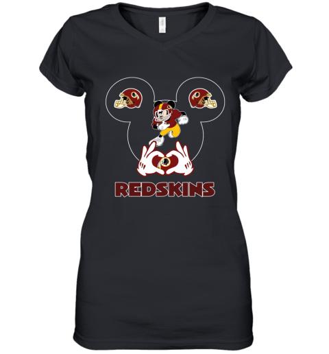 I Love The Redskins Mickey Mouse Washington Redskins Women's V-Neck T-Shirt