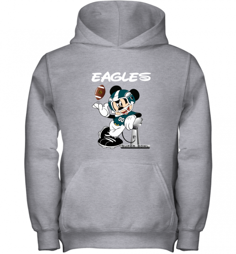 jwbo mickey eagles taking the super bowl trophy football youth hoodie 43 front sport grey