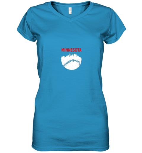 hldv retro minnesota baseball minneapolis cityscape vintage shirt women v neck t shirt 39 front sapphire