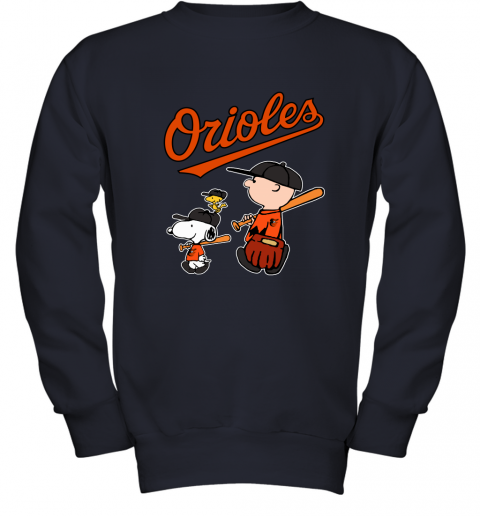rs9a baltimore orioles lets play baseball together snoopy mlb shirt youth sweatshirt 47 front navy