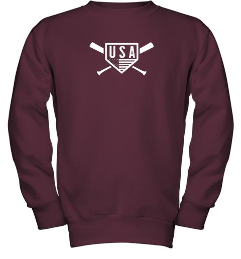 spvc vintage american baseball and softball usa flag youth sweatshirt 47 front maroon