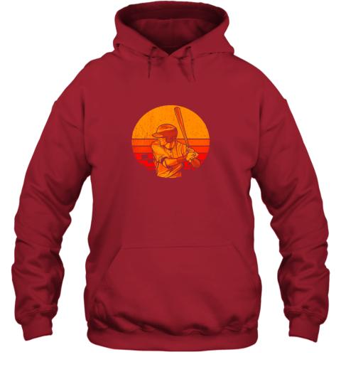 nqnz vintage baseball shirt retro catcher pitcher batter boys hoodie 23 front red
