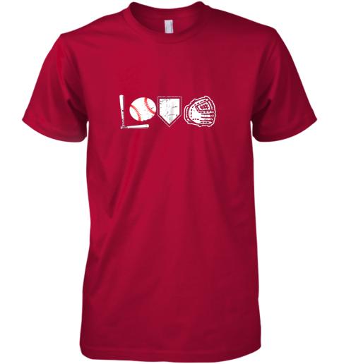 abk0 i love baseball baseball heart premium guys tee 5 front red