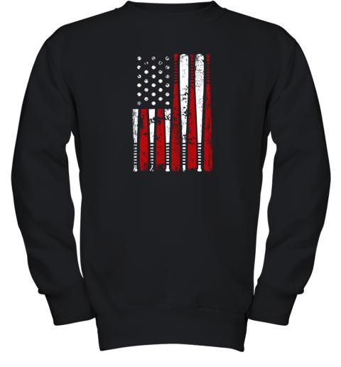 VIntage Baseball Bat American USA Flag Gift Youth Sweatshirt