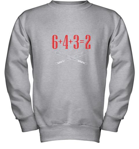 spb4 funny baseball math 6 plus 4 plus 3 equals 2 double play youth sweatshirt 47 front sport grey