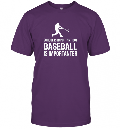 wu2j school is important but baseball is importanter gift jersey t shirt 60 front team purple