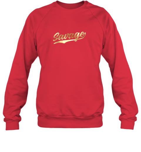 hw0q savage shirt retro 1970s baseball script font sweatshirt 35 front red