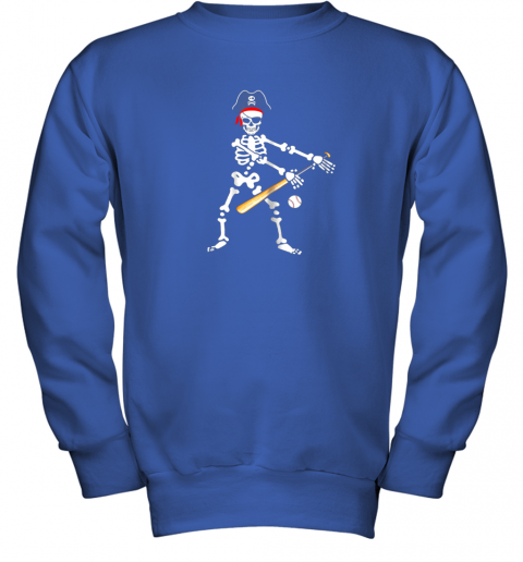 lolx skeleton pirate floss dance with baseball shirt halloween youth sweatshirt 47 front royal