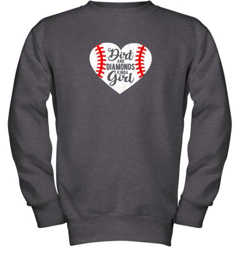 pkvy dirt and diamonds kinda girl baseball youth sweatshirt 47 front dark heather