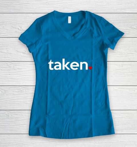 Taken Sorry I m Taken Gift for Valentine 2021 Couples Women's V-Neck T-Shirt 5
