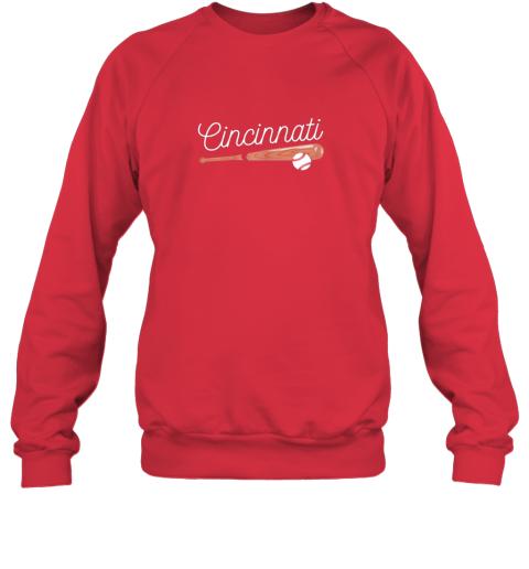 u5mv cincinnati baseball tshirt classic ball and bat design sweatshirt 35 front red