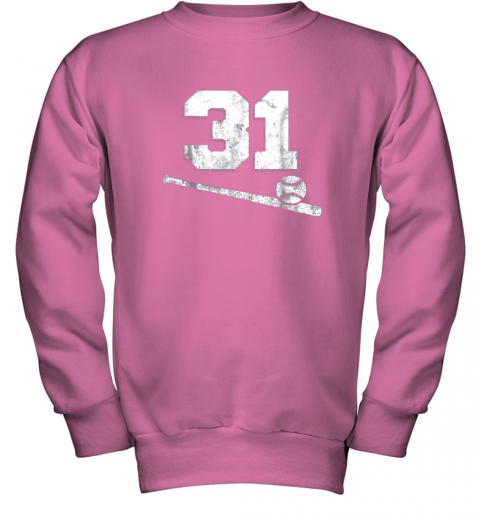 84sk vintage baseball jersey number 31 shirt player number youth sweatshirt 47 front safety pink
