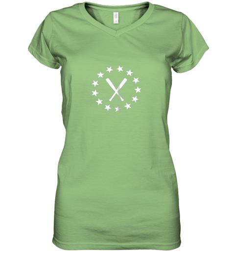 183c baseball with bats shirt baseballin player gear gifts women v neck t shirt 39 front lime