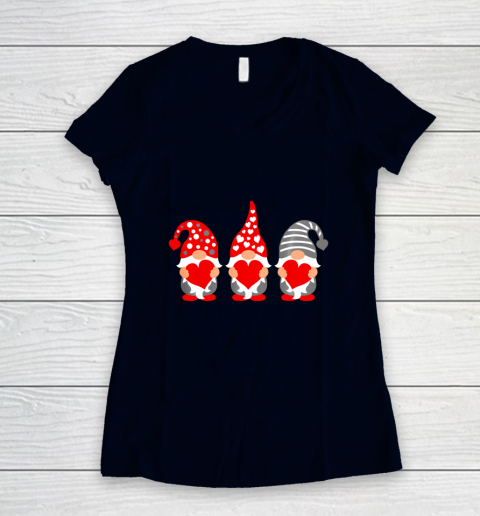 Gnomes Hearts Valentine Day Shirts For Couple Women's V-Neck T-Shirt 2