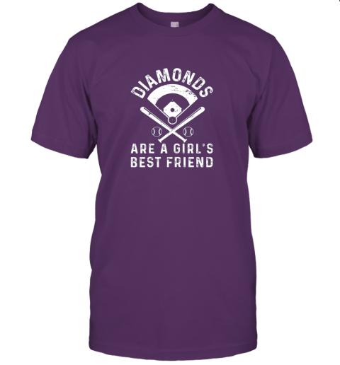3tsp diamonds are a girl39 s best friend baseball jersey t shirt 60 front team purple
