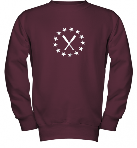 ecxv baseball with bats shirt baseballin player gear gifts youth sweatshirt 47 front maroon