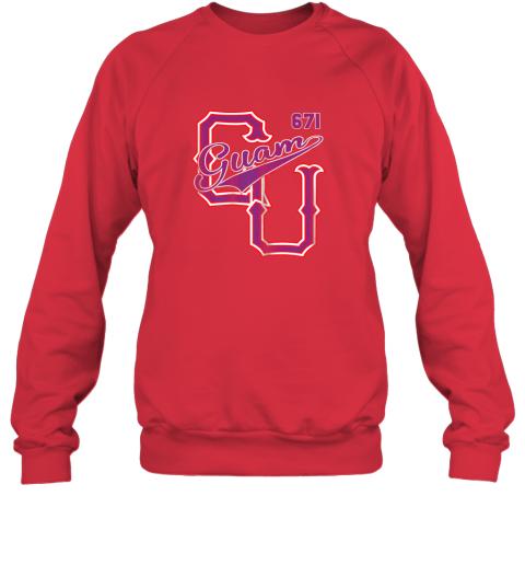 rwfw guam 671 baseball style chamorro guamanian sweatshirt 35 front red