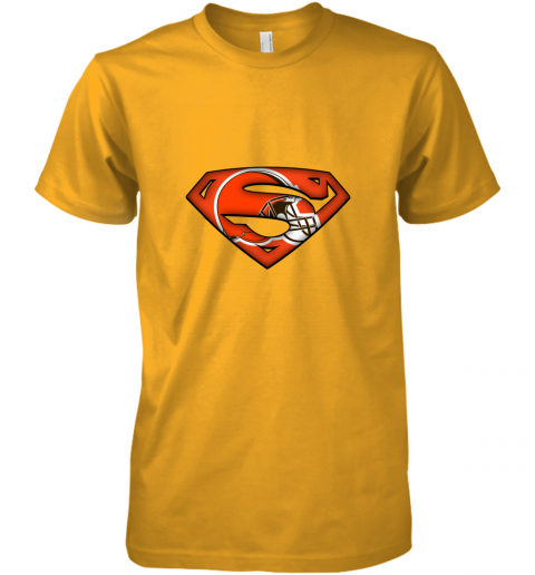 pjsl we are undefeatable the cleveland browns x superman nfl premium guys tee 5 front gold