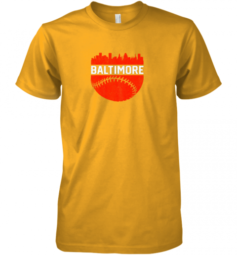 tzyl vintage downtown baltimore maryland skyline baseball premium guys tee 5 front gold