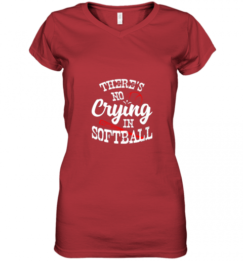 xx0v theres no crying in softball game sports baseball lover women v neck t shirt 39 front red