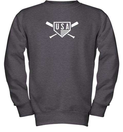 spvc vintage american baseball and softball usa flag youth sweatshirt 47 front dark heather