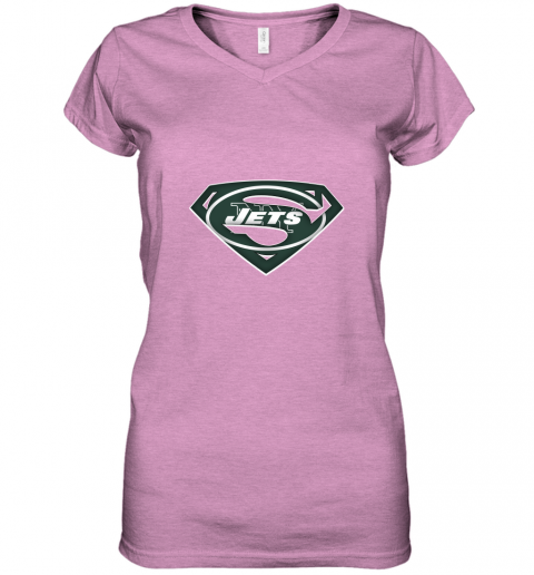 vyne we are undefeatable the new york jets x superman nfl women v neck t shirt 39 front heather radiant orchid