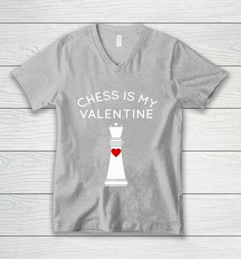 Chess Is My Valentine V-Neck T-Shirt 3