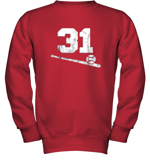 84sk vintage baseball jersey number 31 shirt player number youth sweatshirt 47 front red