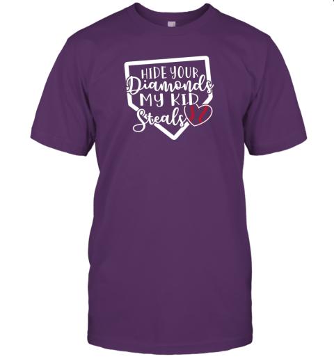 3woe hide your diamonds my kid steals baseball softball funny jersey t shirt 60 front team purple