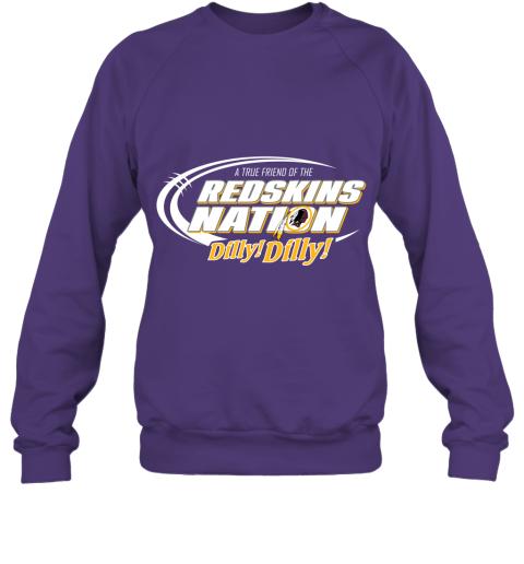 t5ot a true friend of the redskins nation sweatshirt 35 front purple