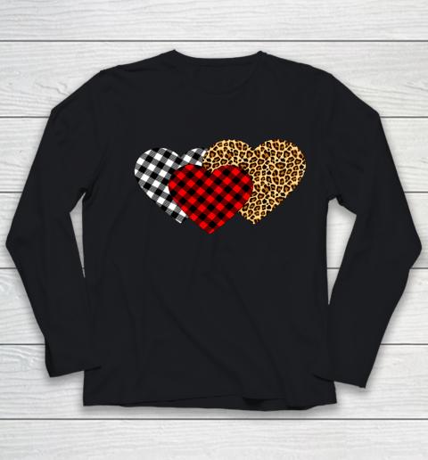 Leopard Heart Buffalo Plaid Heart Valentine Day Youth Long Sleeve