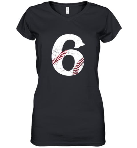Kids Happy Birthday 6th 6 Year Old Baseball Gift Boys Girls 2013 Women's V-Neck T-Shirt
