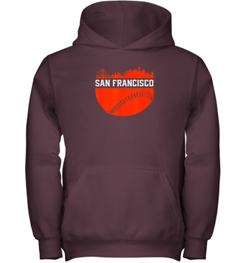 mh3j san francisco baseball vintage sf the city skyline gift youth hoodie 43 front maroon