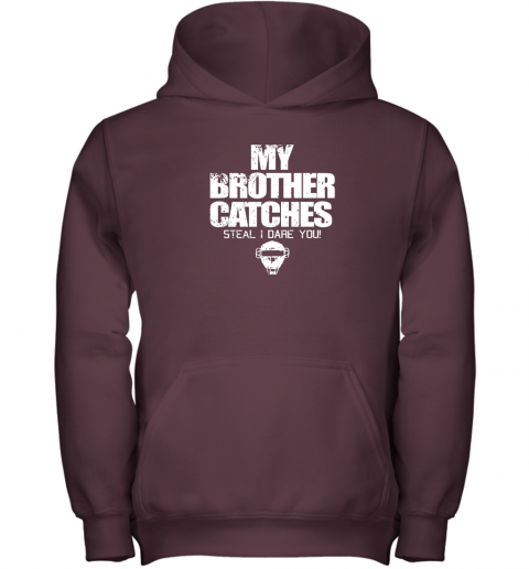 tjjj cool baseball catcher funny shirt cute gift brother sister youth hoodie 43 front maroon