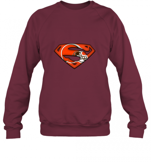 axik we are undefeatable the cleveland browns x superman nfl sweatshirt 35 front maroon