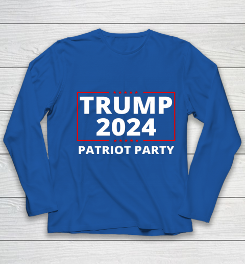 Trump 2024 Patriot Party Lion Populist Liberty Freedom Youth Long Sleeve 7