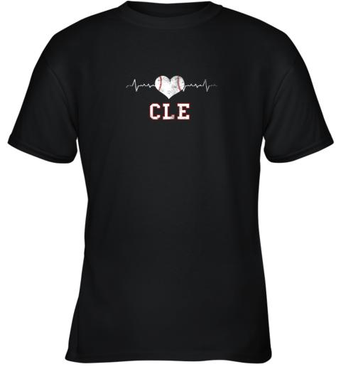 Cleveland Baseball Shirt Cleveland Ohio Heart Beat CLE Youth T-Shirt