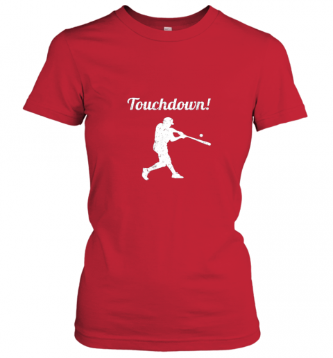 mp1f touchdown funny baseball ladies t shirt 20 front red