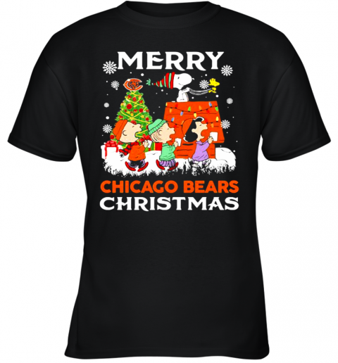 Merry Chicago Bears Christmas Snoopy Peanuts Youth T-Shirt