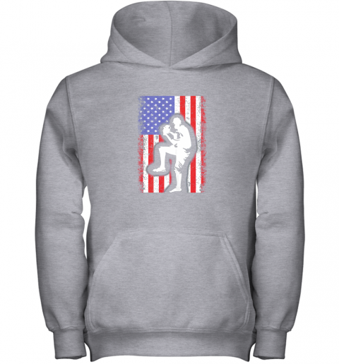 lbr0 vintage usa american flag baseball player team gift youth hoodie 43 front sport grey