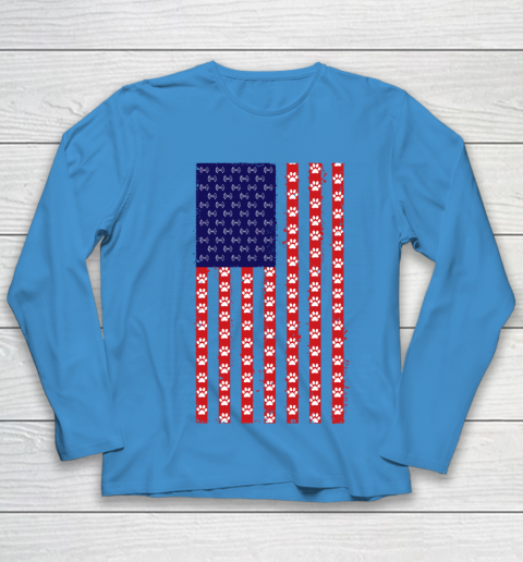 Baton Twirling Dog Lover American Flag Youth Long Sleeve 5