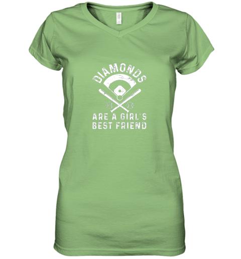 nxj8 diamonds are a girl39 s best friend baseball women v neck t shirt 39 front lime